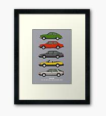 Saab Classic Car Outline Illustration Framed Print