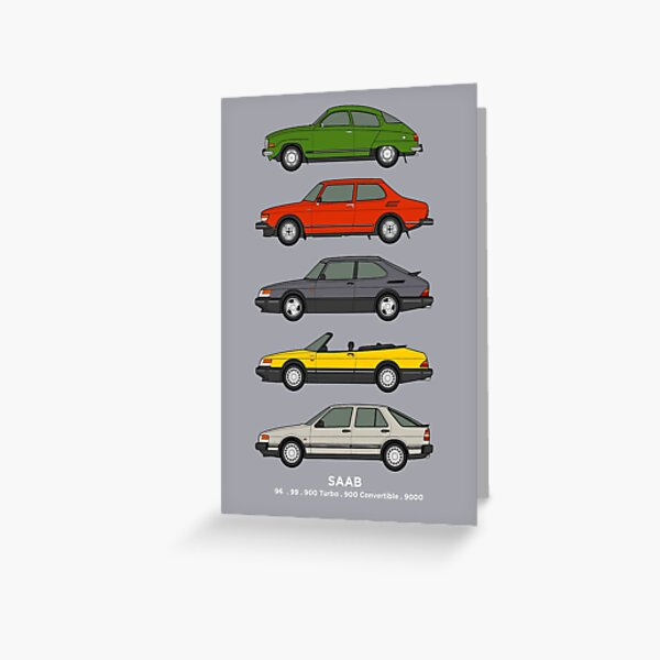 Saab Classic Car Outline Illustration Greeting Card