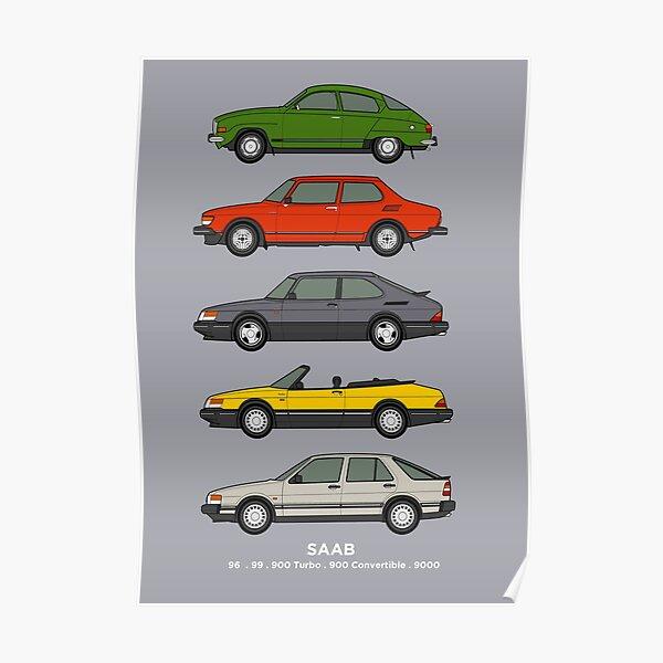 Saab Classic Car Outline Illustration Poster