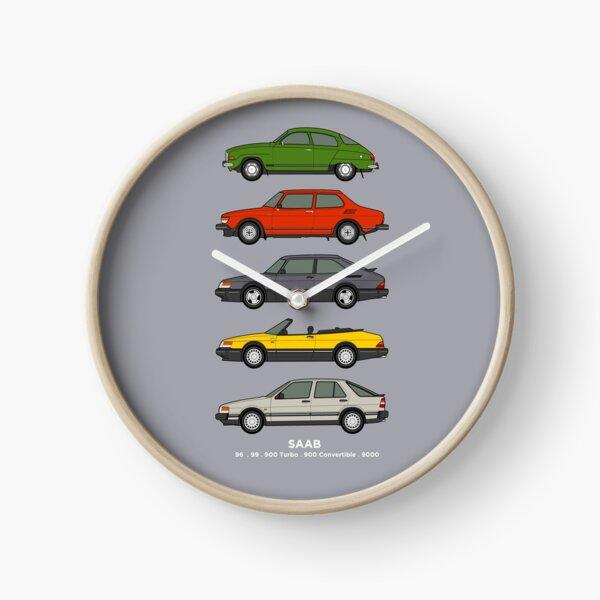 Saab Classic Car Outline Illustration Clock
