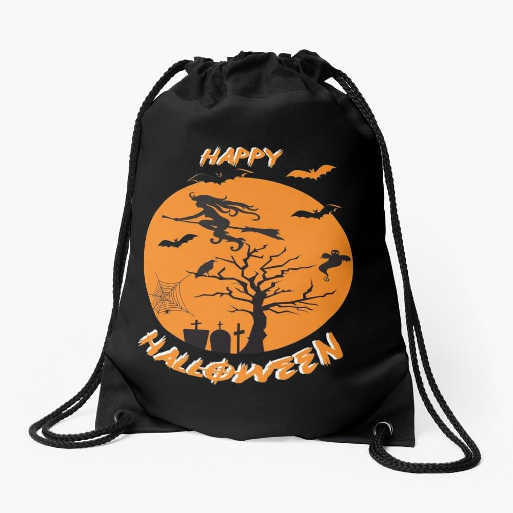 Spooky Scene Halloween Scene Scary Scene Tree. Drawstring Bag