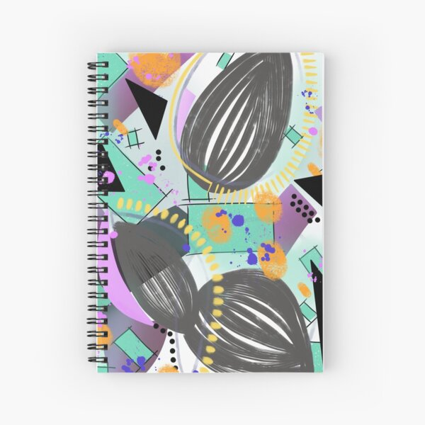Vibrant and fun digital abstract design Spiral Notebook