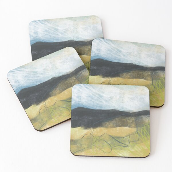 Higger Tor from Longshaw - Peak District art print Coasters (Set of 4)