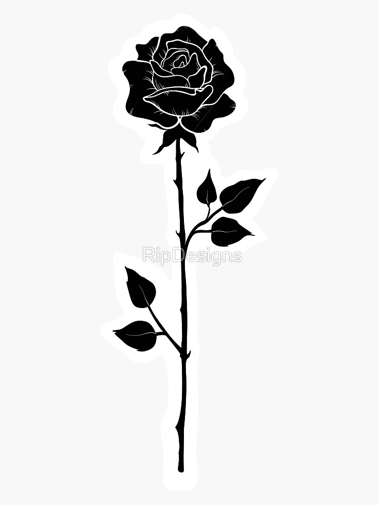 Cute Black and White Rose Sticker by RipDesigns