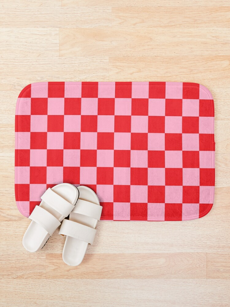 Alternate view of Checkered Pink and Red Bath Mat