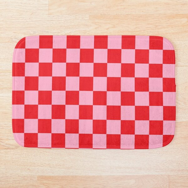 Checkered Pink and Red Bath Mat