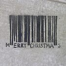 Merry Christmas Barcode (stencil graffiti) by Steve Campbell