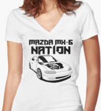 Mazda MX-6 Nation (3/4 View,Top Font) Women's Fitted V-Neck T-Shirt