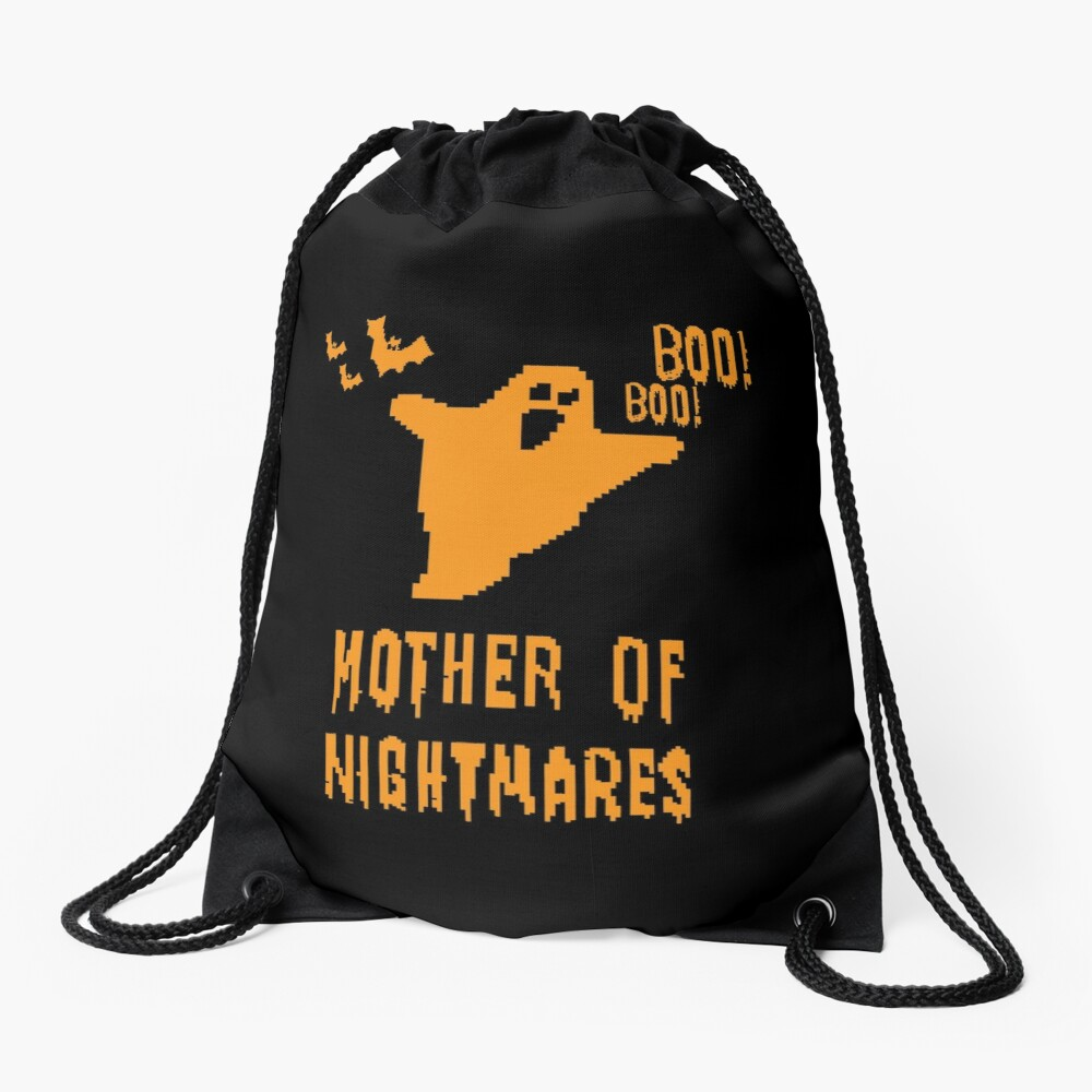 Mother of Nightmares Spooky Scary Pixel Ghost Bat. Drawstring Bag