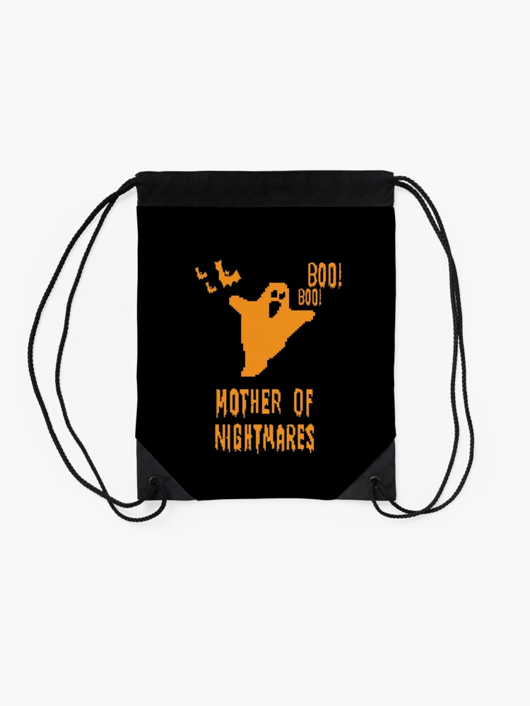 Alternate view of Mother of Nightmares Spooky Halloween Scary Bat Scene.  Drawstring Bag