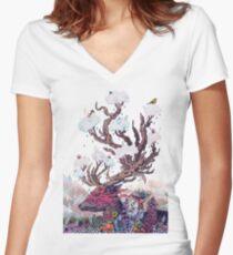 Journeying Spirit (deer) Women's Fitted V-Neck T-Shirt