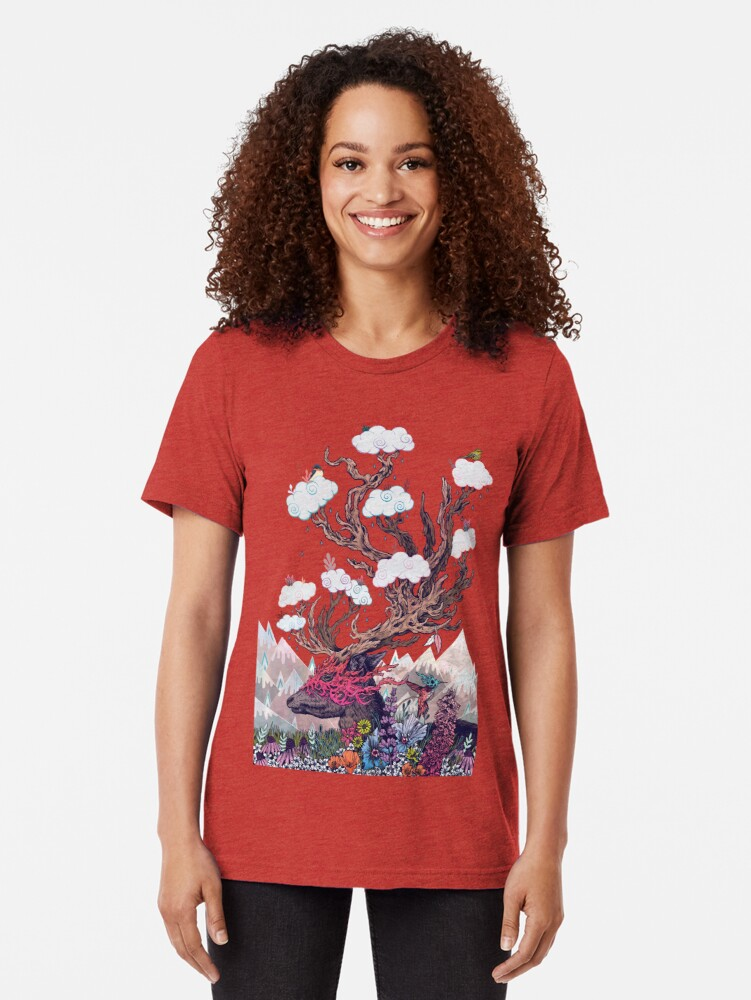 Alternate view of Journeying Spirit (deer) Tri-blend T-Shirt