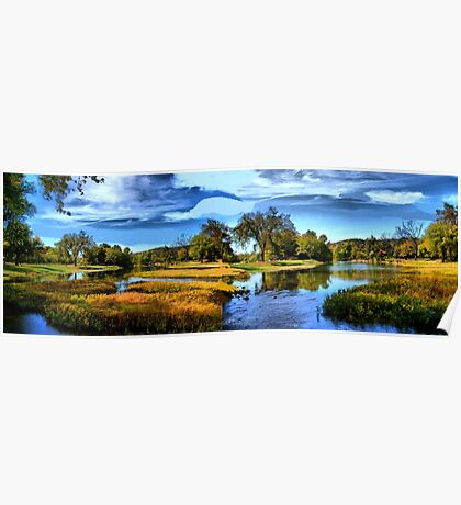 Autumn River Fork Poster