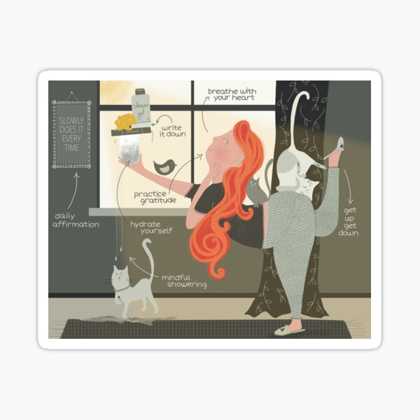 Morning Yoga - Lady and cats  Sticker