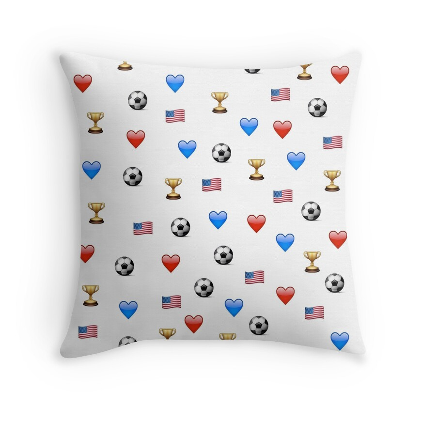 """""""USWNT World Cup Champions Emojis"""" Throw Pillows by ... World Cup Emoji"""