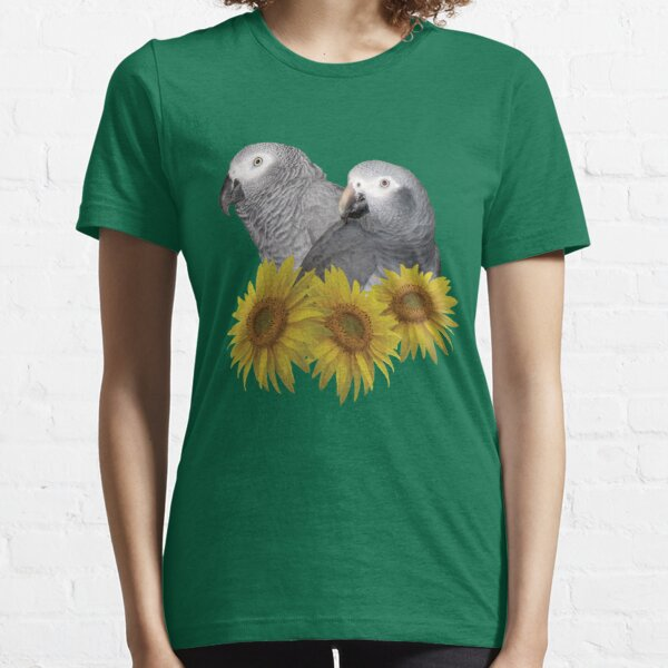 Congo and Timneh African Grey Parrot with Sunflowers Essential T-Shirt