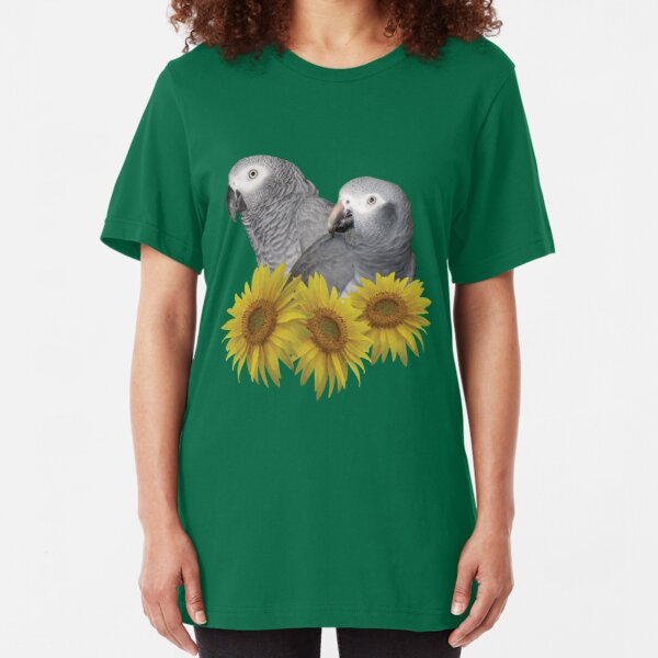 Congo and Timneh African Grey Parrot with Sunflowers Slim Fit T-Shirt