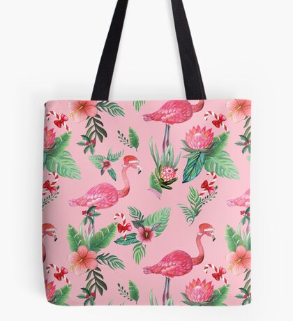 Pink Flamingo in Santa Hat  with candy canes, holly and exotic flowers in watercolor Tote Bag