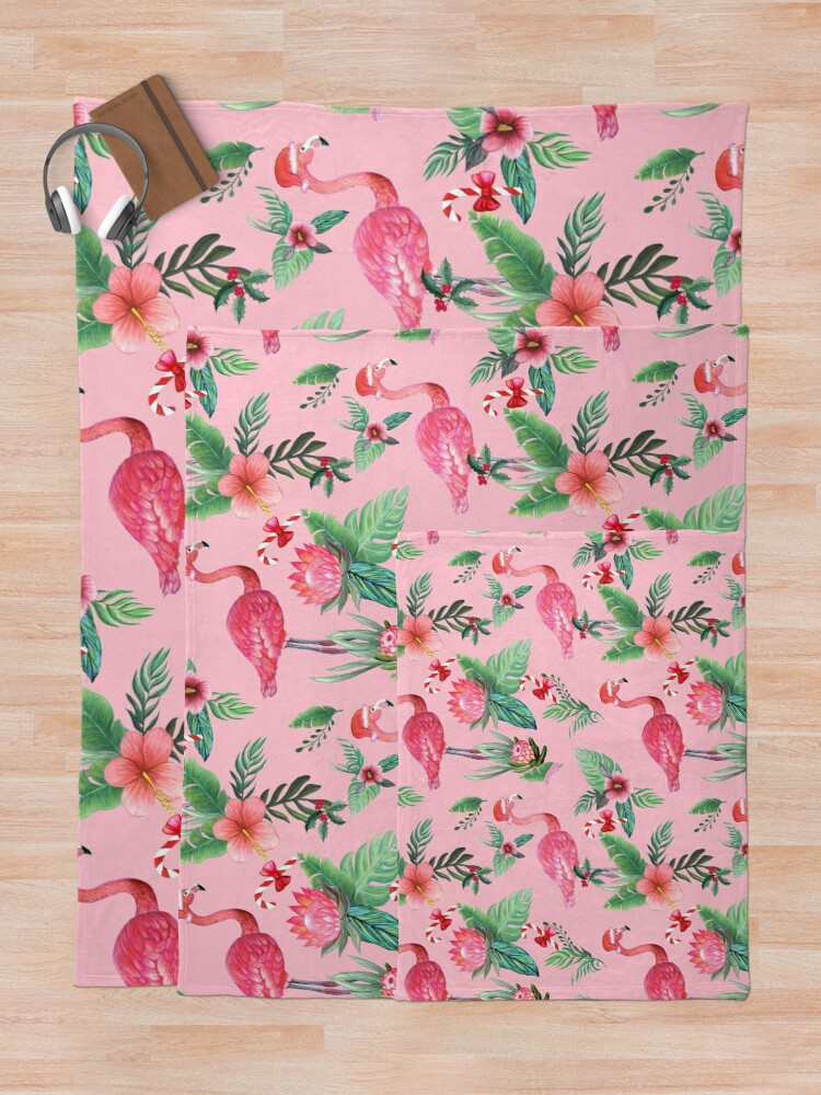 Alternate view of  Pink Flamingo in Santa Hat  with candy canes, holly and exotic flowers in watercolor Throw Blanket