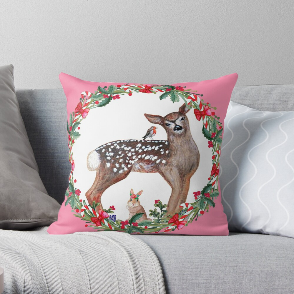 Christmas Deer, robin, rabbit, berries and candy canes Throw Pillow