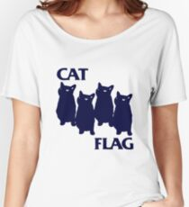 Cat Flag Funny Black Flag Women's Relaxed Fit T-Shirt