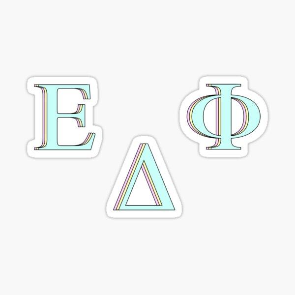 letter delta, letter epsilon, letter phi Sticker