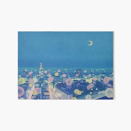 Sailor Moon Background City at Night Art Board Print