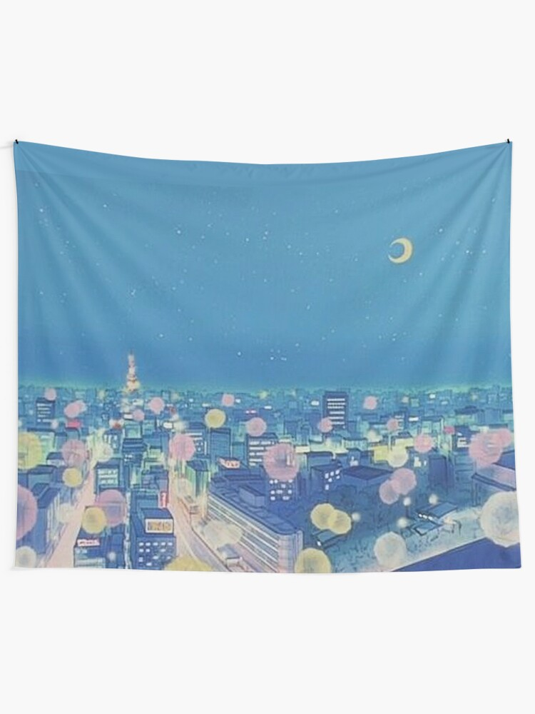 Alternate view of Sailor Moon Background City at Night Tapestry