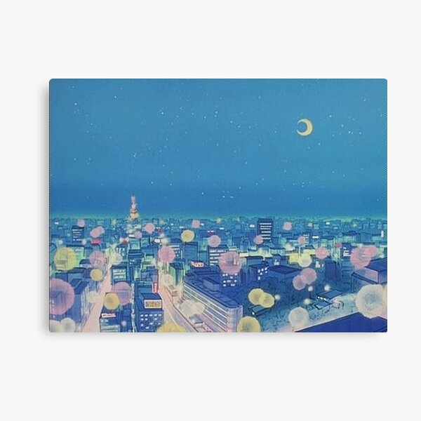 Sailor Moon Background City at Night Canvas Print