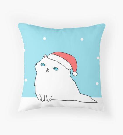 White Persian in Santa Hat Throw Pillow