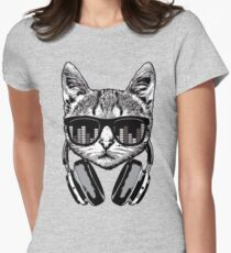 Headphones Cat Equalizer Glasses Women's Fitted T-Shirt