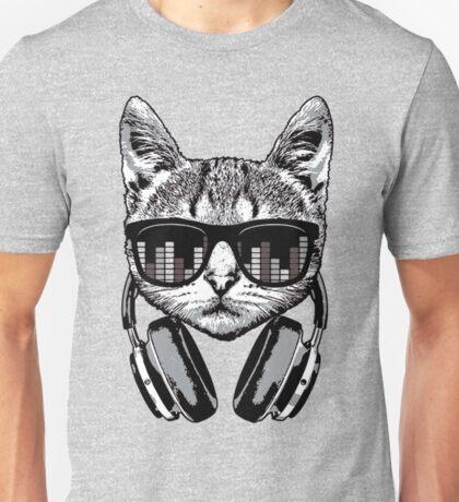 Headphones Cat Equalizer Glasses Unisex T-Shirt