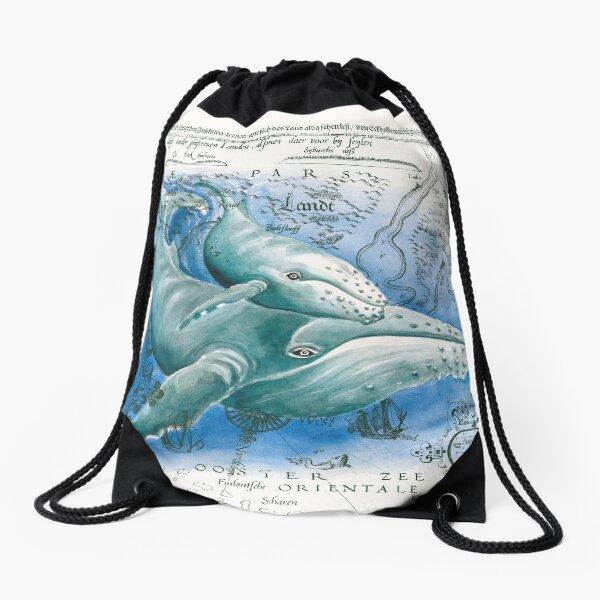 Humpback Whales Family Vintage Map Watercolor Drawstring Bag