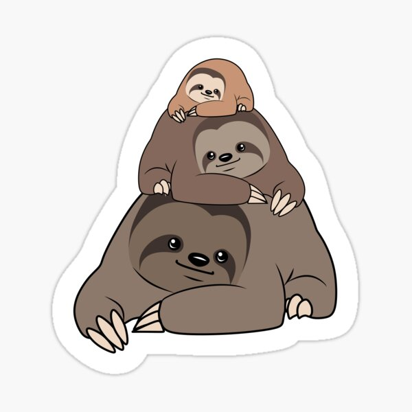 3 Stacked Sloths  Sticker