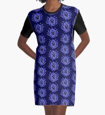 Flower Swirl - Blue Graphic T-Shirt Dress