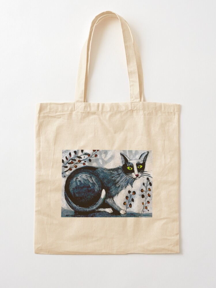 Alternate view of Tuxedo  cat, black cat, pet portrait, cute pets, cat art Tote Bag