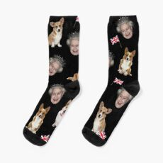 Queen Elizabeth and corgis pattern Socks