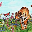 Tiger in a Perfect World - Mugs by EuniceWilkie