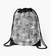 Mushrooms in Grey Drawstring Bag