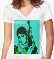 Palestine anarchy Women's Fitted V-Neck T-Shirt