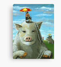 High on the Hog - surreal oil painting Canvas Print