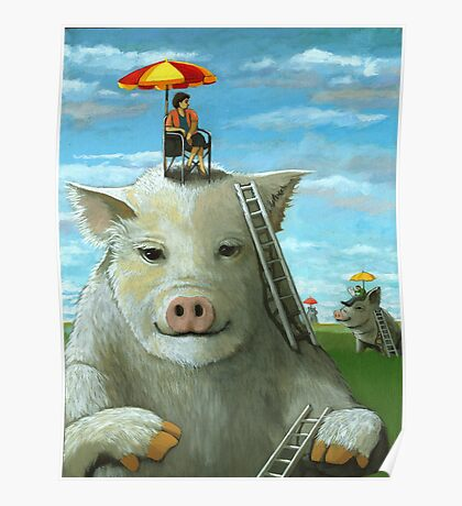 High on the Hog - surreal oil painting Poster