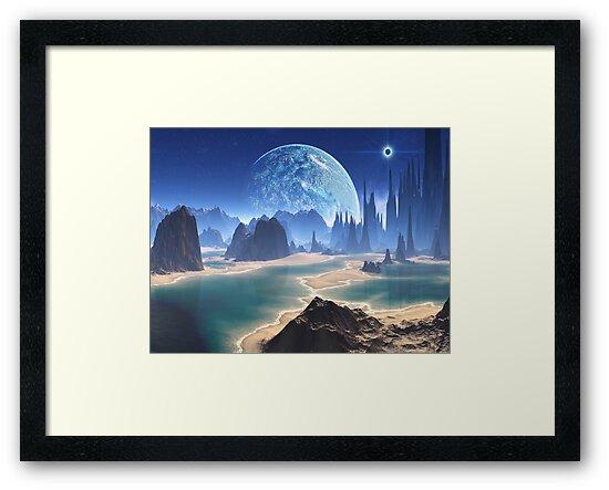 Planet-rise over Alien Beach World by Angela Harburn