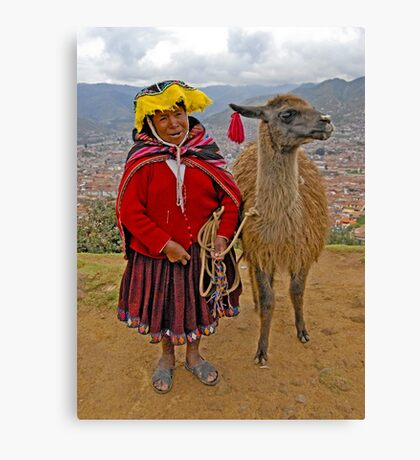 Peruvian lady and llama Canvas Print
