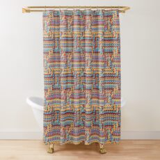 Sunblaze S-type Blade Distort Seamless Pattern Shower Curtain