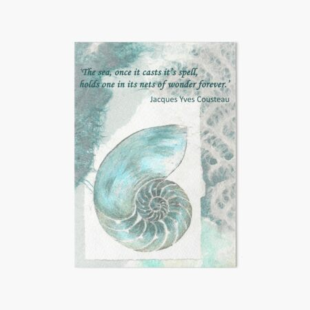 'The sea once it casts it's spell... - Cousteau Art Board Print