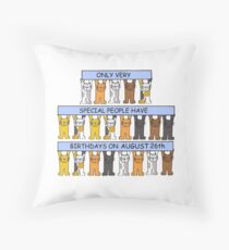 Cats celebrating a birthday on August 26th Throw Pillow