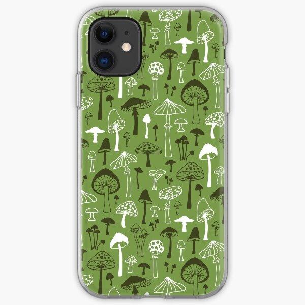 Mushrooms in Green iPhone Soft Case
