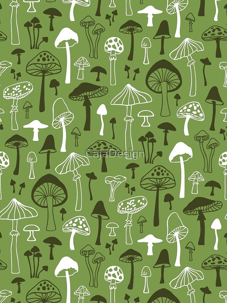 Mushrooms in Green by CajaDesign