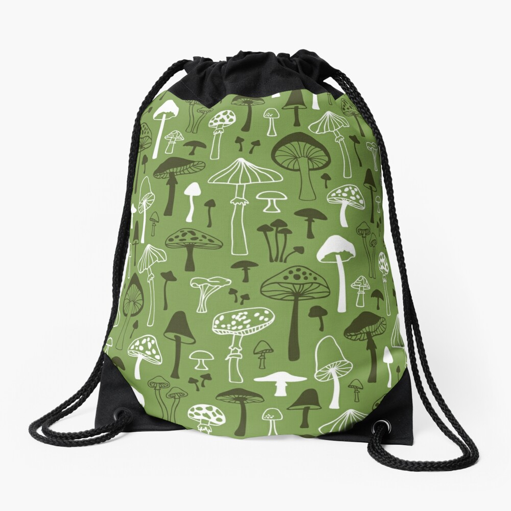 Mushrooms in Green Drawstring Bag